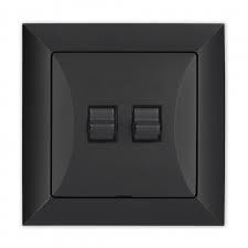 vypínač dvoupolový retro černý