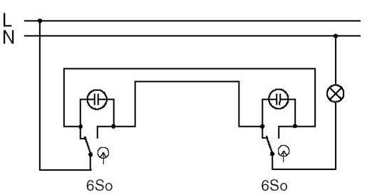 Schéma zapojení vypínačů - dvojitý střídavý vypínač