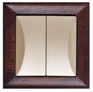 Seriový přepínač s dřevěným rámečkem wenge