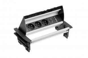 Zásuvka vestavná stolní 3x zásuvka + 2x USB