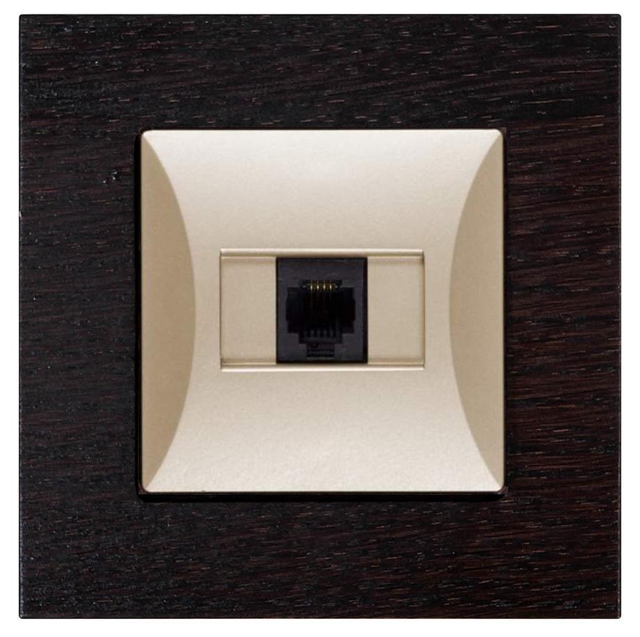 Datová zásuvka s dřevěným rámečkem Opál modern