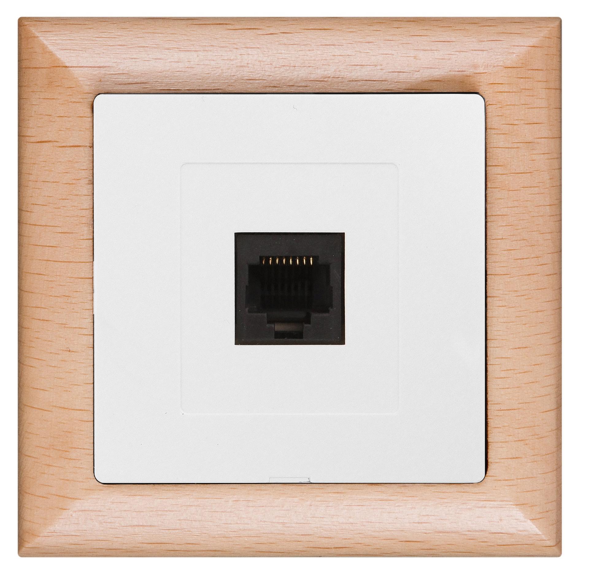 Datová zásuvka Prémium  4 pin, kombinace dřevo buk, bílá
